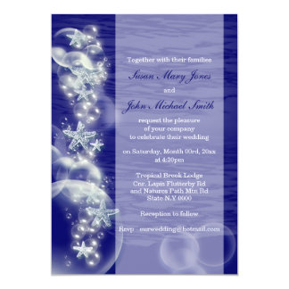 Blue white wedding engagement anniversary 5x7 paper invitation card