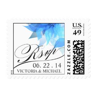 Blue White Wedding Floral RSVP Stamp
