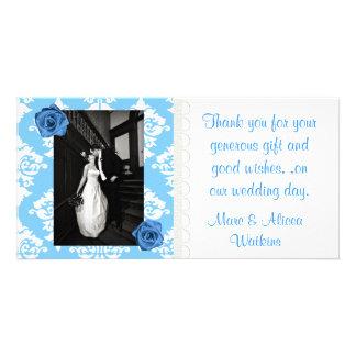 Blue & White Wedding Photo Thank You Card Customized Photo Card