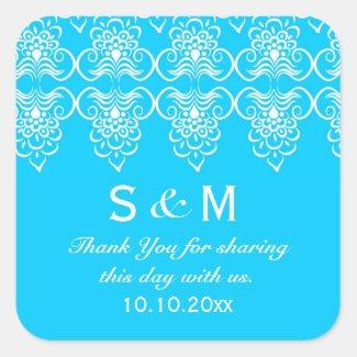 Blue White Wedding Thank You Monogram Square Stickers