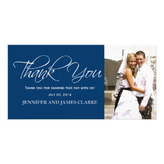 Blue White Wedding Thank You Photo Cards