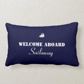 Blue White Welcome Aboard Boat Nautical Lumbar Pillow