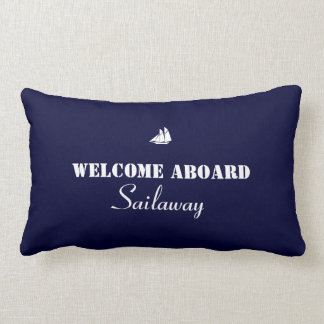 Blue White Welcome Aboard Boat Nautical Pillows