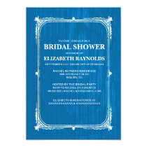 Blue White Western Barn Wood Bridal Shower Invites