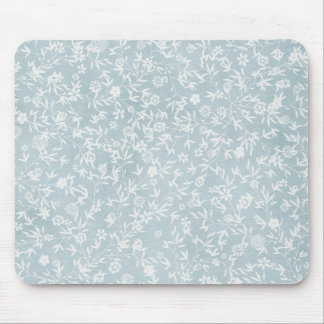 Blue White Wildflowers Mouse Pad
