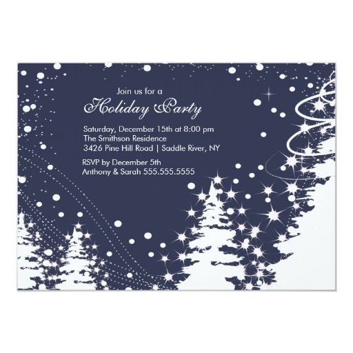 Blue & White Winter Holiday Party Invitation