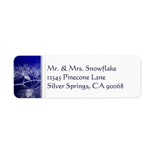 Blue White Winter Pine Custom Return Address Custom Return Address Labels