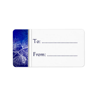 Blue White Winter Pine Gift Tag Address Label