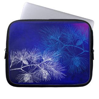 Blue White Winter Pine Pattern Laptop Sleeve