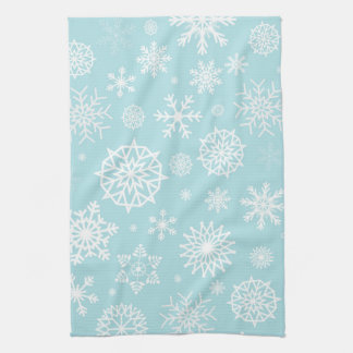 Blue White Winter Snowflake Christmas Holidays Hand Towel