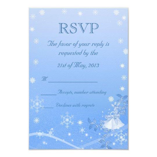 Blue & White Winter Wedding RSVP Card