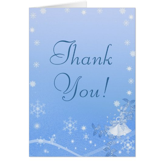 Blue & White Winter Wedding Thank You Card