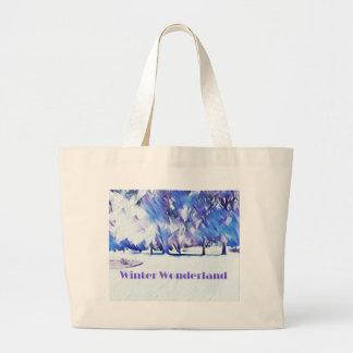 Blue White Winter Wonderland Artistic Landscape Large Tote Bag