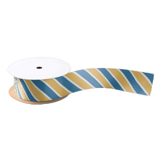 Blue White & Yellow Stripes Satin Ribbon