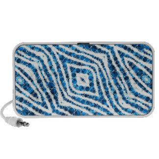 Blue White Zebra Abstract Travel Speaker