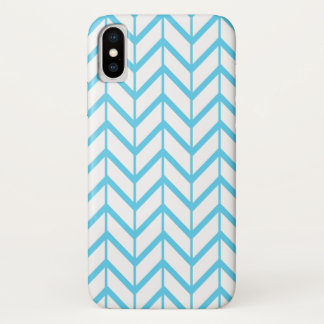 Blue White Zigzag Chevron Pattern iPhone X Case