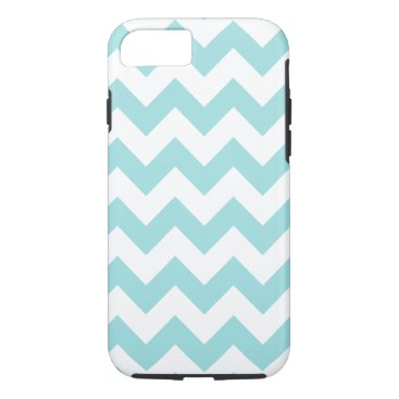 Beach Themed Blue White Zigzag Stripes Chevron Pattern iPhone 7 Case