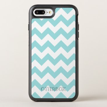 Beach Themed Blue White Zigzag Stripes Chevron Pattern OtterBox Symmetry iPhone 7 Plus Case