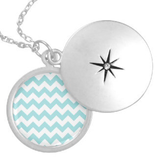 Blue White Zigzag Stripes Chevron Pattern Silver Plated Necklace