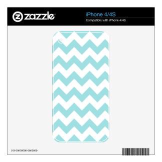 Blue White Zigzag Stripes Chevron Pattern Skin For iPhone 4S
