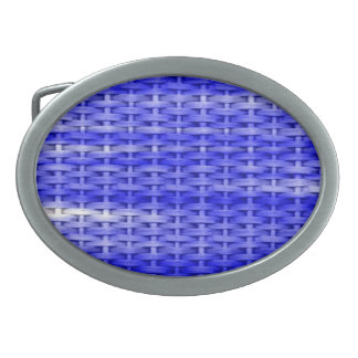 Blue wicker retro graphic design oval belt buckle