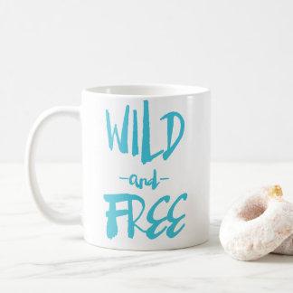 Blue Wild and Free Rustic Hand Lettered Custom Mug