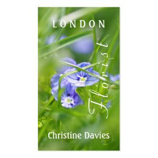 Blue wild flowers macro photograhy, florist business card template