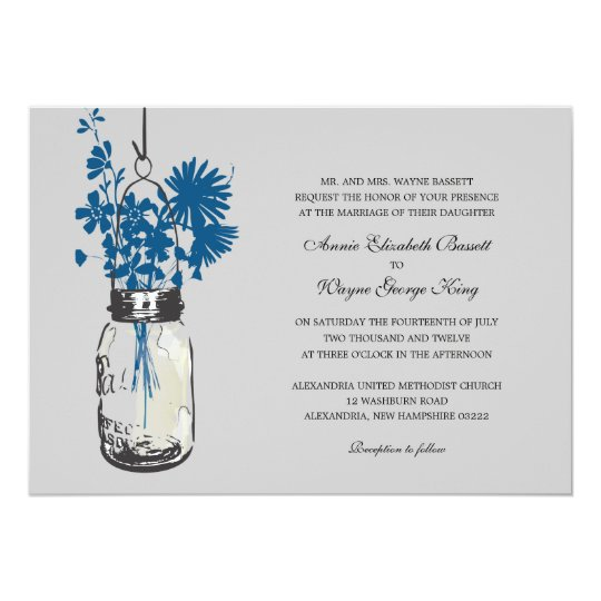 Blue Wild flowers & Mason Jar Wedding Invitations