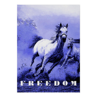 Blue Wild Horses Motivational Freedom Artwork Poster