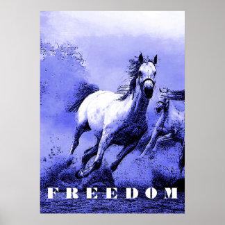 Blue Wild Horses Motivational Freedom Artwork Poster