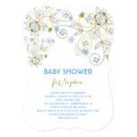 Blue Wildflower Floral Baby Boy Shower Invitation