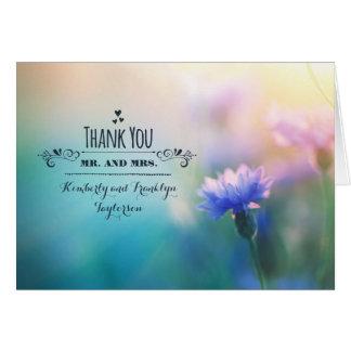 Blue Wildflower Romantic Wedding Thank you Card