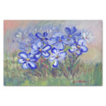 """Blue Wildflowers in a Field Fine Art Painting 10"""" X 15"""" Tissue Paper"""