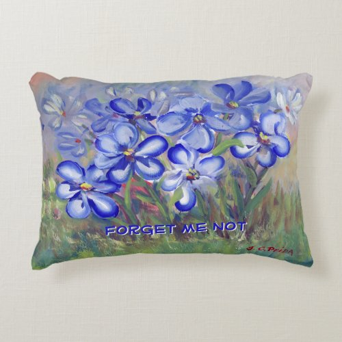 Blue Wildflowers in a Field Fine Art Painting Accent Pillow