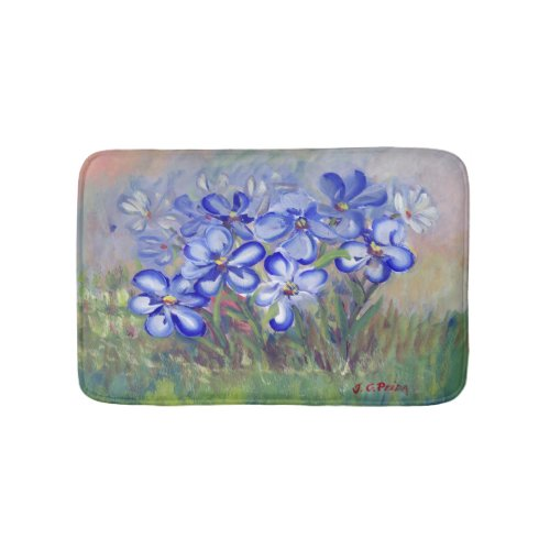 Blue Wildflowers in a Field Fine Art Painting Bathroom Mat