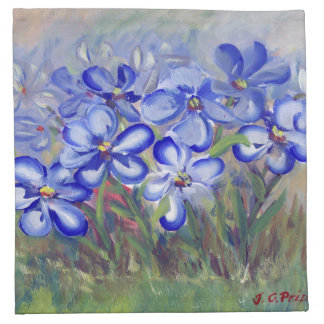 Blue Wildflowers in a Field Fine Art Painting Cloth Napkin