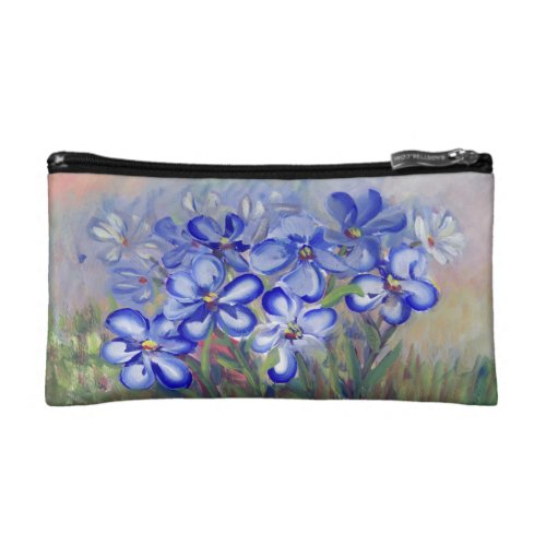 Blue Wildflowers in a Field Fine Art Painting Cosmetic Bag