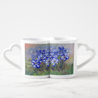 Blue Wildflowers in a Field Fine Art Painting Couples Coffee Mug