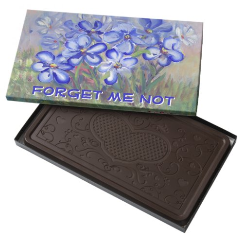 Blue Wildflowers in a Field Fine Art Painting Dark Chocolate Bar