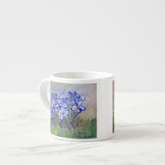 Blue Wildflowers in a Field Fine Art Painting Espresso Cup