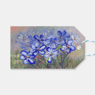 Blue Wildflowers in a Field Fine Art Painting Gift Tags