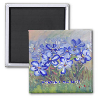 Blue Wildflowers in a Field Fine Art Painting 2 Inch Square Magnet