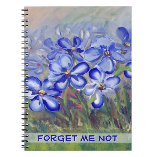Blue Wildflowers in a Field Fine Art Painting Notebook