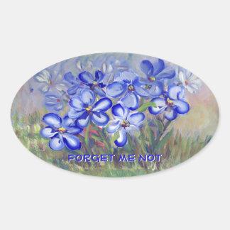 Blue Wildflowers in a Field Fine Art Painting Oval Sticker