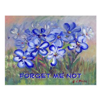 Blue Wildflowers in a Field Fine Art Painting Postcard