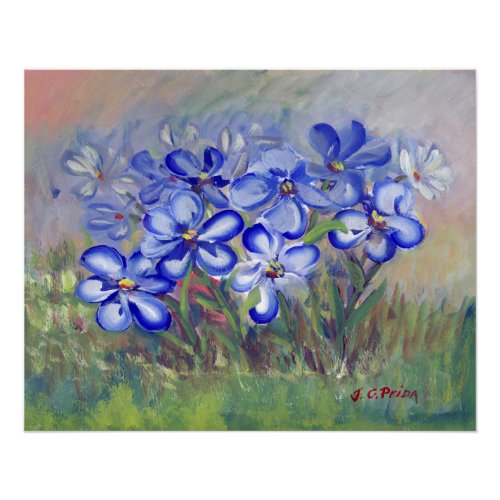 Blue Wildflowers in a Field Fine Art Painting Poster