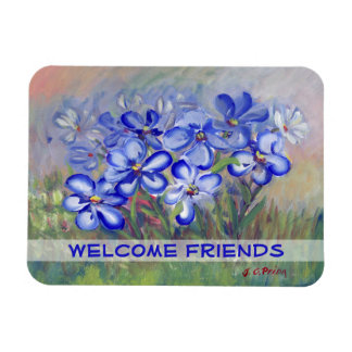 Blue Wildflowers in a Field Fine Art Painting Rectangular Photo Magnet