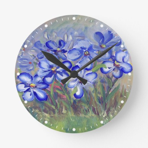 Blue Wildflowers in a Field Fine Art Painting Round Clock