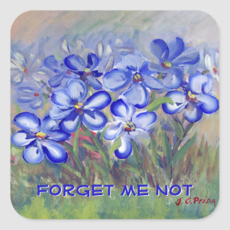Blue Wildflowers in a Field Fine Art Painting Square Sticker