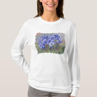 Blue Wildflowers in a Field Fine Art Painting T-Shirt